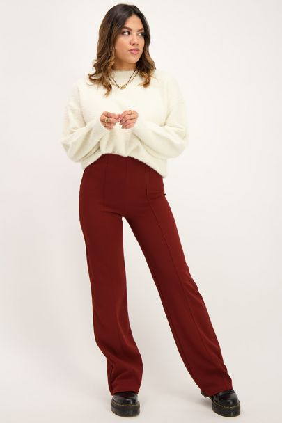 Brown straight fit pants