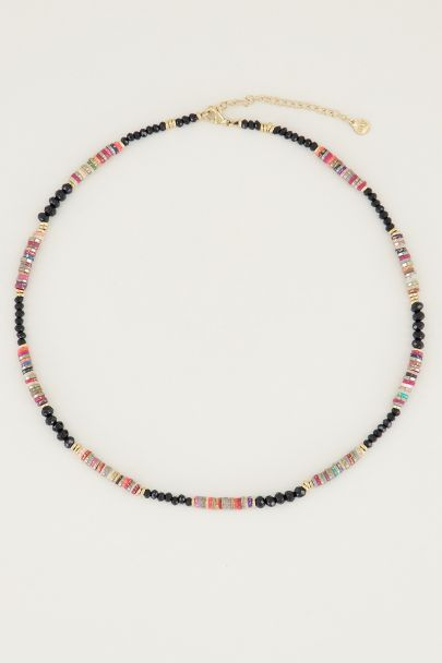 Necklace with glitter & black beads, black bead necklace