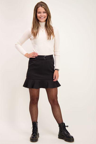 Zwarte rok met plooi en riem