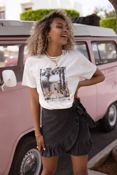 Cream T-shirt Casablanca print
