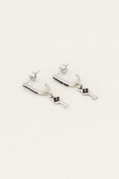 Oorhangers sleutel & zwarte strass steentjes | Zwarte oorbellen My Jewellery
