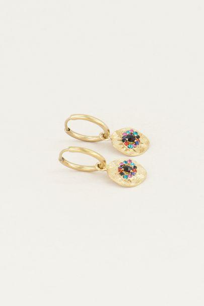 Earring with multi-coloured rhinestone coin | Rhinestone earrings My Jewellery