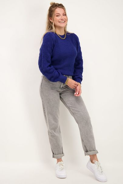 Dark blue sweater with ajour sleeves