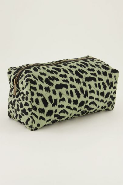 Donkergroene make-up etui met luipaard