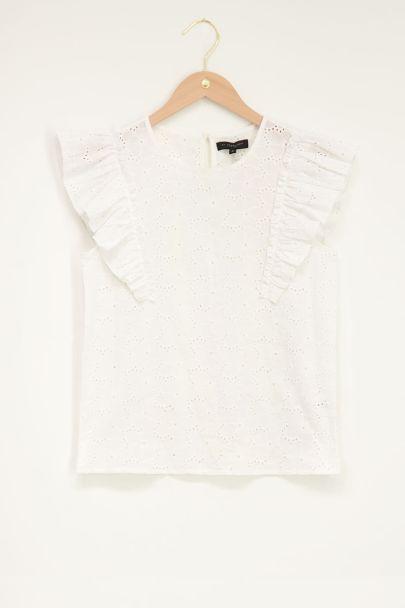 Witte top met embroidery