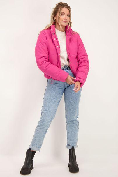 Fel roze puffer jacket