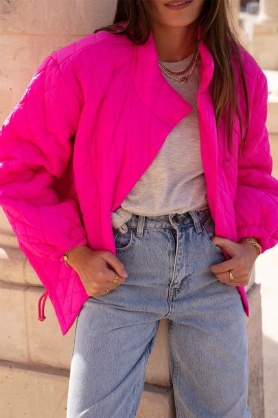 Fel roze gewatteerde jas