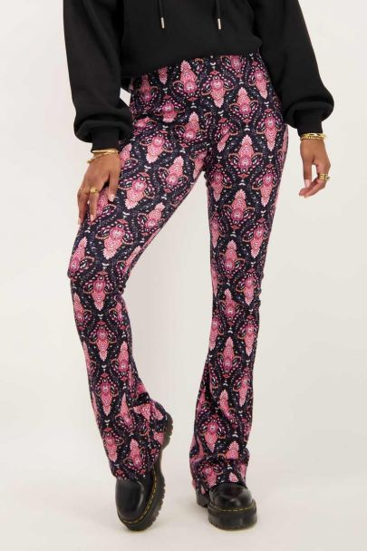 Black boho printed flared pants