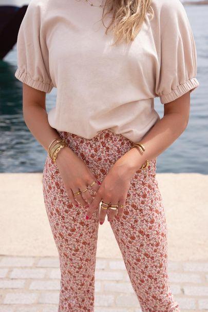 Flared pants met bloemenprint