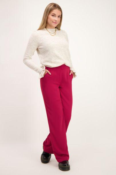 Donkerroze wijdvallende pantalon