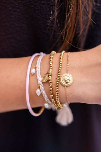 Braided bracelet/anklet with pearls