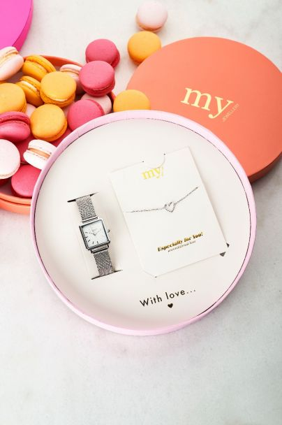 Moederdag giftbox horloge & hartjes armbandje