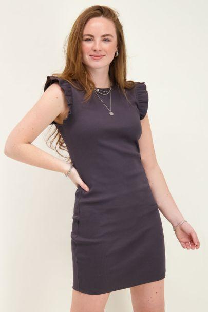 Grey rib dress with ruffle sleeve