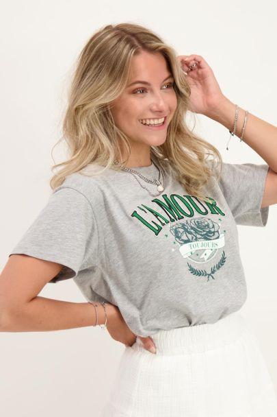 Grey T-shirt L'amour