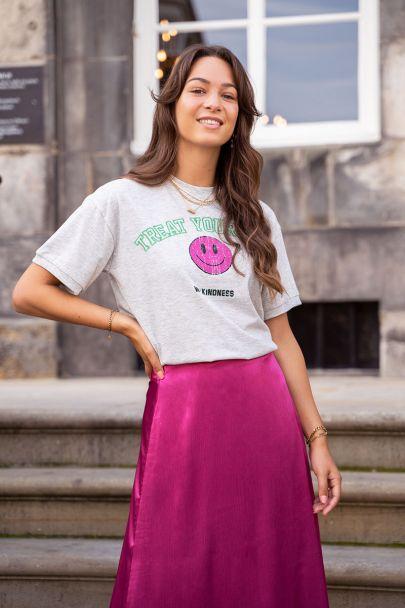 Grijs T-shirt met smiley print