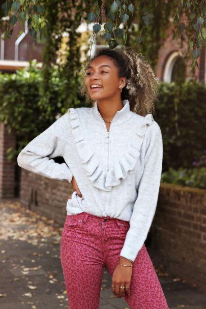 Grey sweater with ruffles & zipper