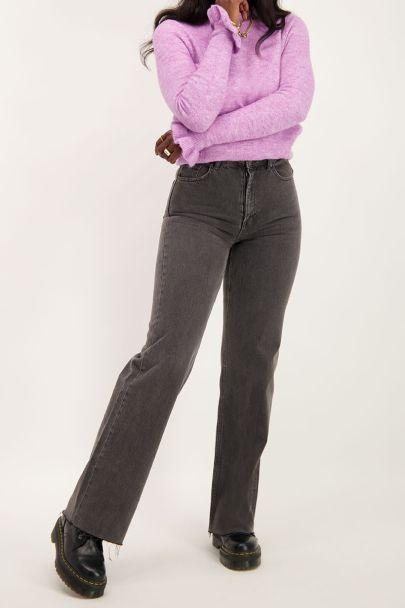 Grijze wijdvallende jeans