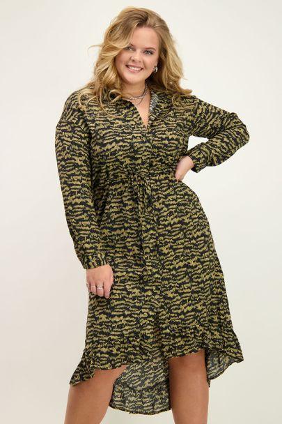 Groene midi jurk zebraprint