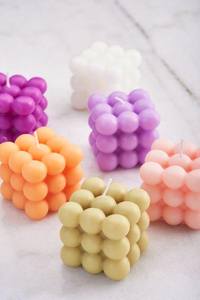 Groen-roze kaarsen set met bolletjes
