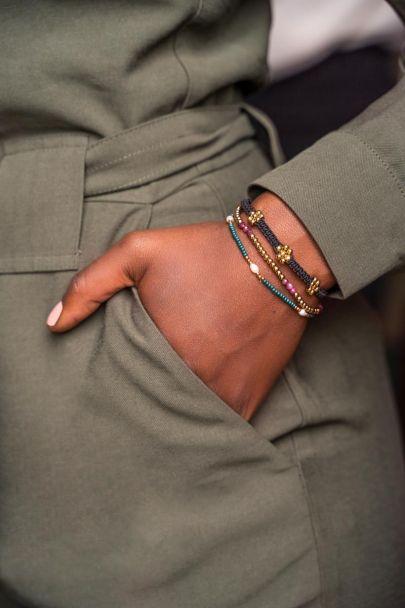 Grün mit schwarzen Perlen Armband Set
