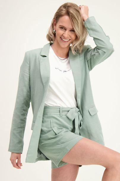Groene blazer linnen look
