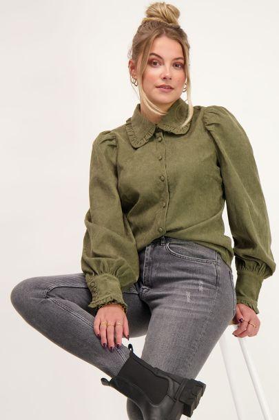 Groene blouse met corduroy