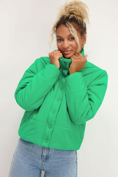 Fel groene puffer jacket