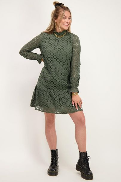 Green dress with embroidery