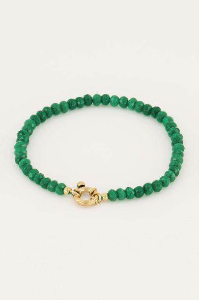 Groene kralen armband met slotje