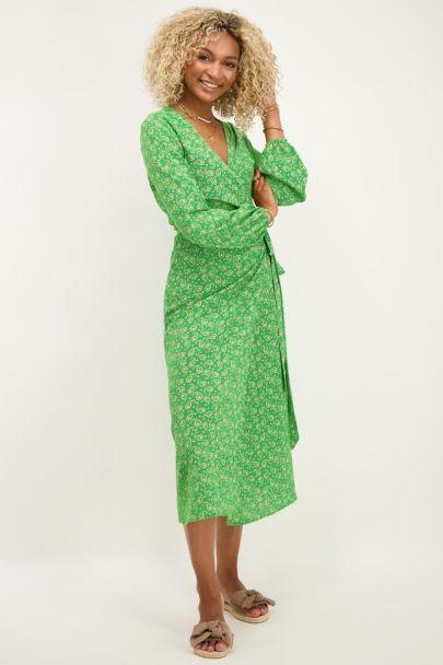 Green midi dress with paisley print