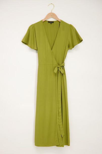 Green midi wrap dress
