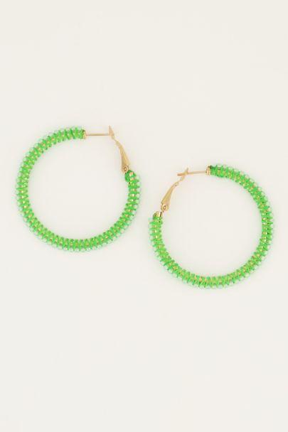 Groene oorbellen kraal rond