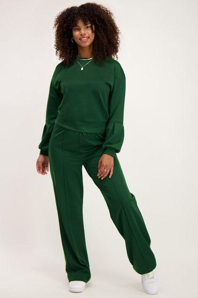 Groene sweater met ballonmouwen