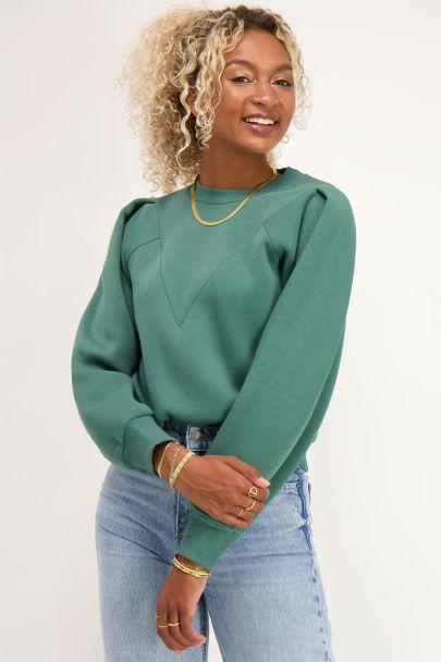 Groene sweater met V shape