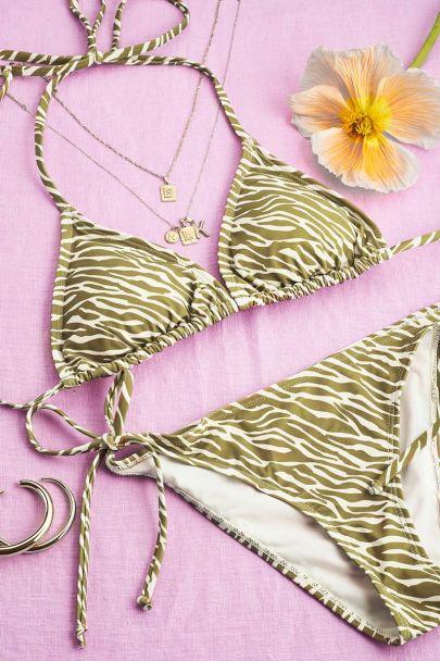 Groene zebra triangle bikini set