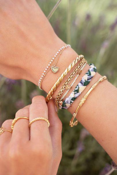 Mint green braided bracelets set