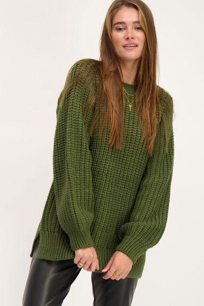 Groene gebreide oversized trui
