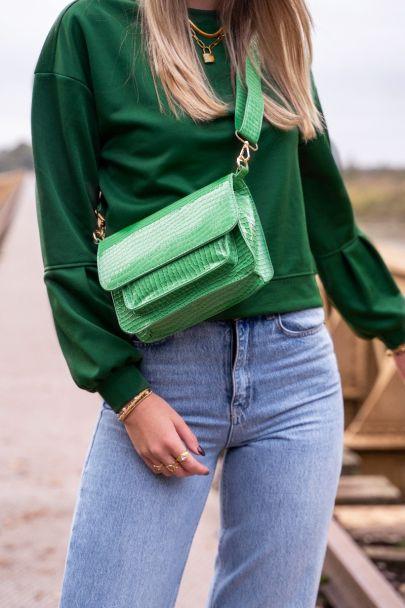 Grüner Pullover mit Ballonärmeln