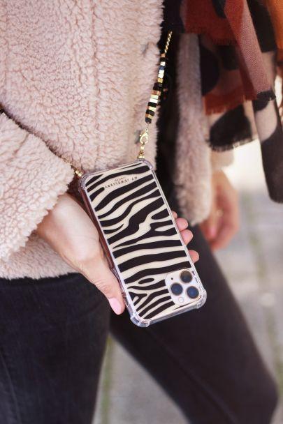 Phone case with zebra print