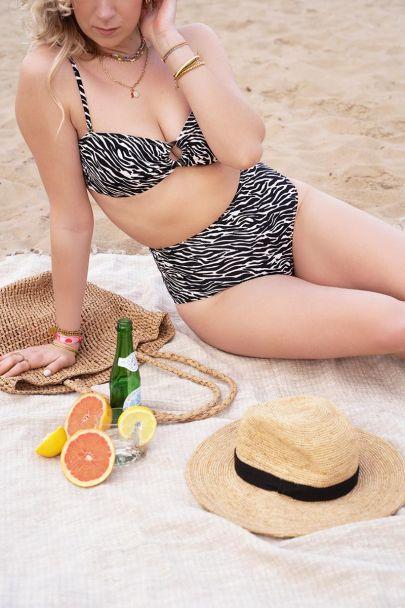 Hoog bikini broekje met zebraprint