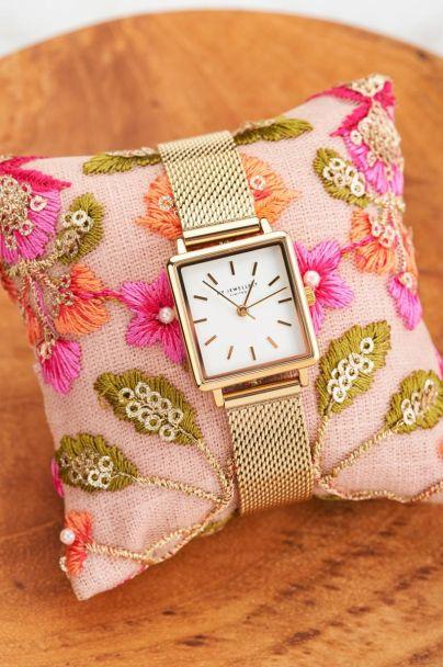 Horloge witte vierkante wijzerplaat