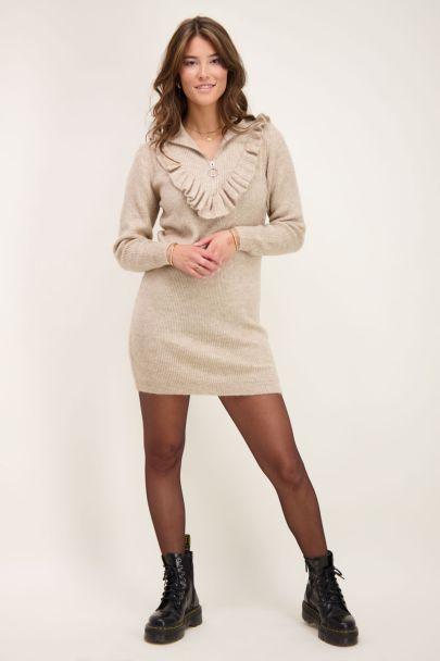Beige trui-jurk met rits