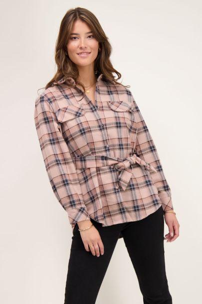 Geruite blouse met koord