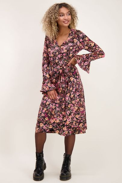 Pink midi wrap dress with floral print