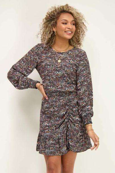 Multikleur jurk met panterprint