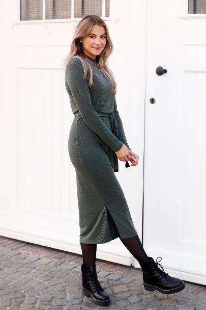 Groene lange jurk met ribstof