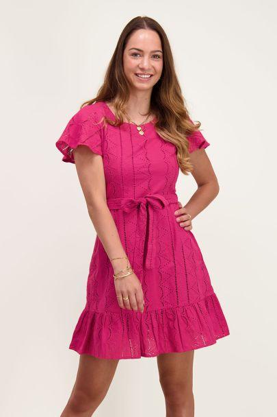 Donkerroze jurk embroidery
