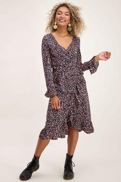 Roze midi jurk luipaard print