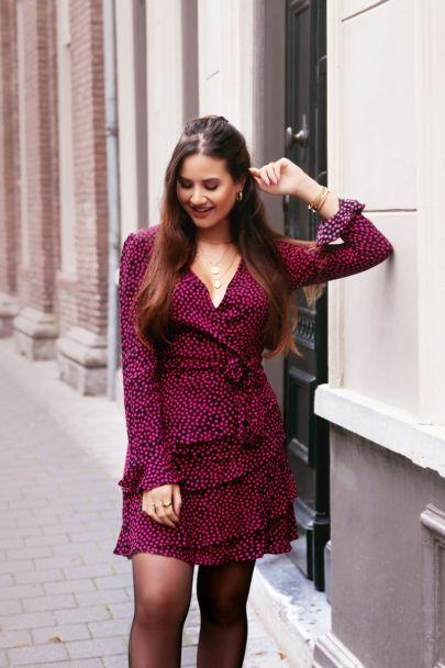 Black wrap dress pink polka dots