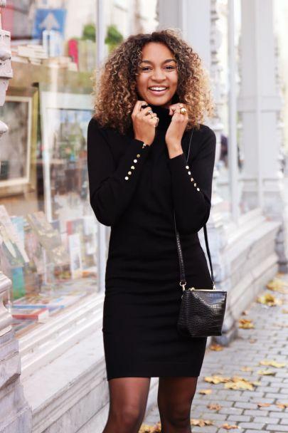 Zwarte jurk My Jewellery knoopjes